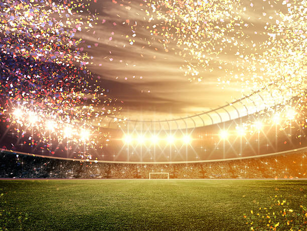 stadium with confetti - sports championship stock photos and pictures