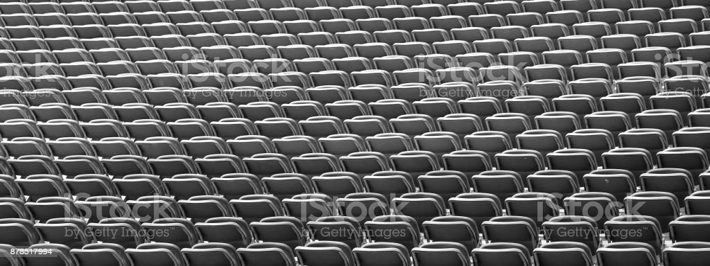 stadium with empty seats waiting for the start of the match stock photo