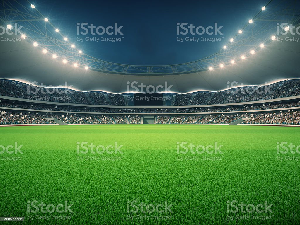 stadium with fans the night before the match. 3d rendering – Foto