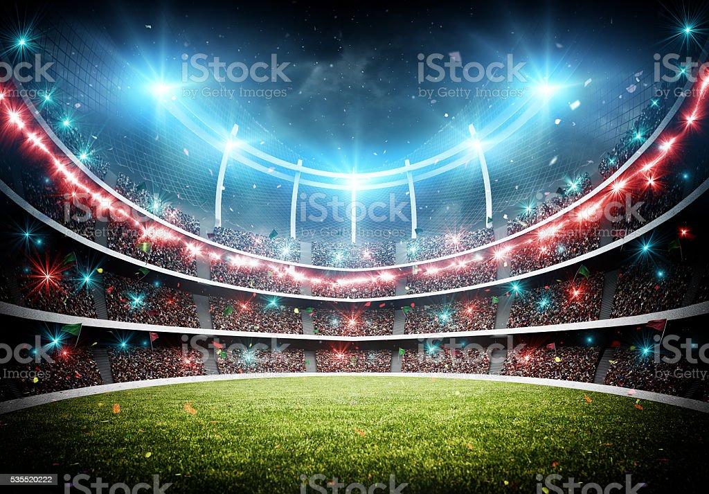 stadium with fireworks stock photo