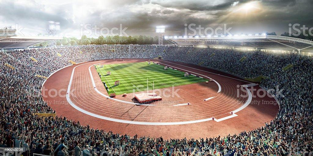 stadium with running tracks stock photo
