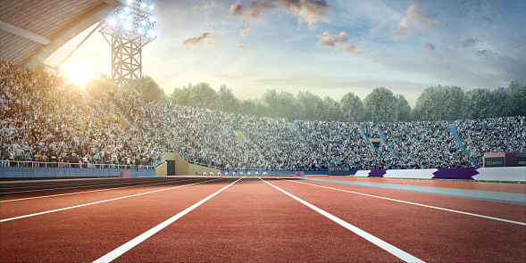 Sunny . sport stadium with crowds of people at the background. On behind the stadium are green trees. The image was made in 3d.
