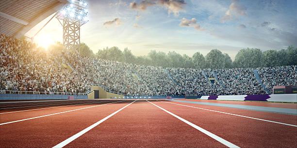 stadion mit running-titel - laufbahn stock-fotos und bilder