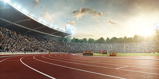 estádio com trilhas de corrida - atletismo - fotografias e filmes do acervo