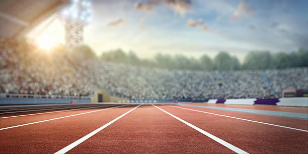 . stadium with running tracks stock photo