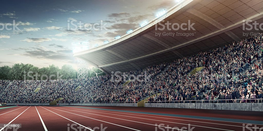 Olympic stadium with running tracks stock photo