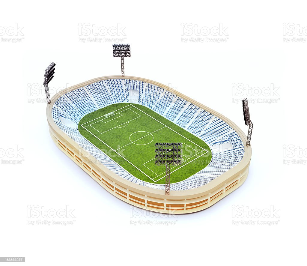 stadium with soccer field with the light stands stock photo