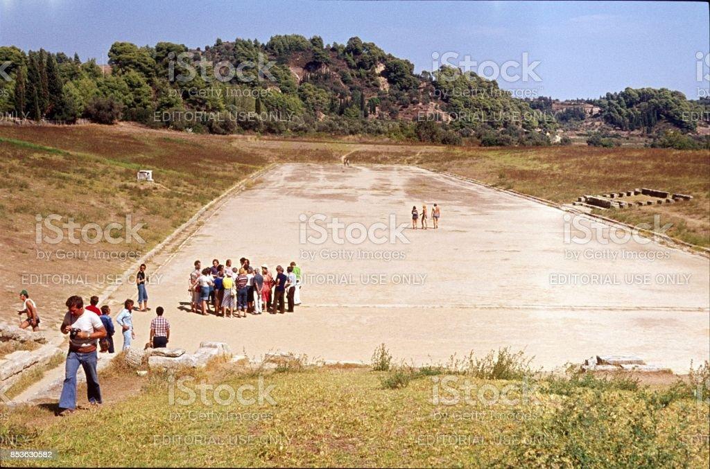 Stadium, Zeus sanctuary in Olympia stock photo