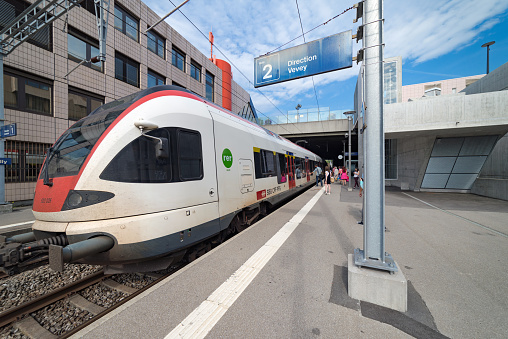 Stadler FLIRT train at Pully in Switzerland
