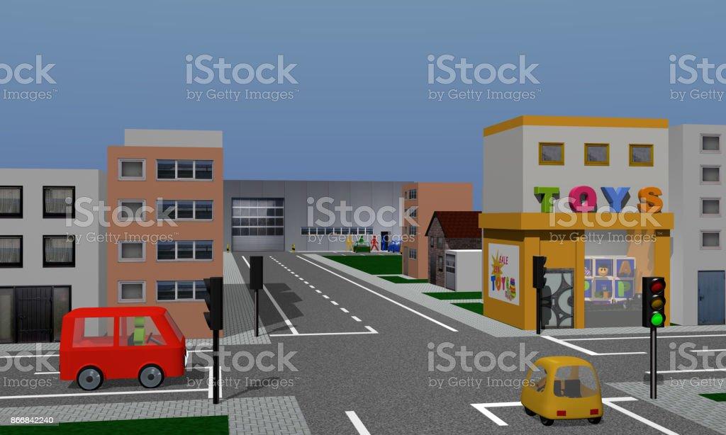 Stadt Mit Formprinzipien, Spielzeuggeschäft, Firma Und Straßenkreuzung Mit nachberufliche Und Autos. – Foto