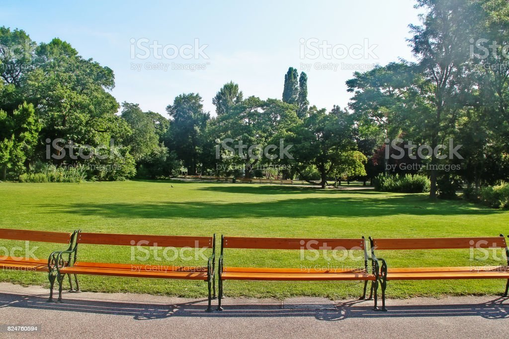 Stadtpark (City Park), the park in Vienna that be divided in two sections by the Wienfluss (Vienna River), Vienna (Wien), Austria (Osterreich) stock photo