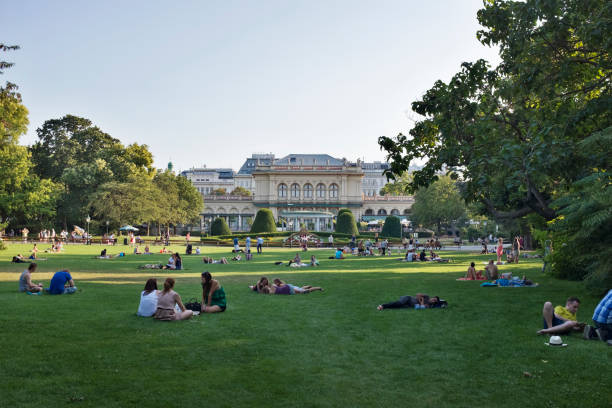 Stadtpark with Kursalon Wien stock photo
