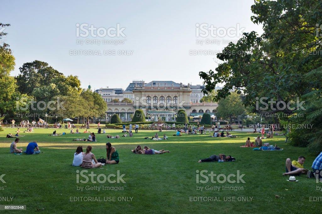Stadtpark with Kursalon Wien stock photo