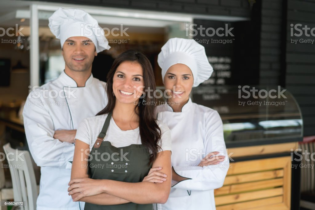 Staff at a restaurant stock photo