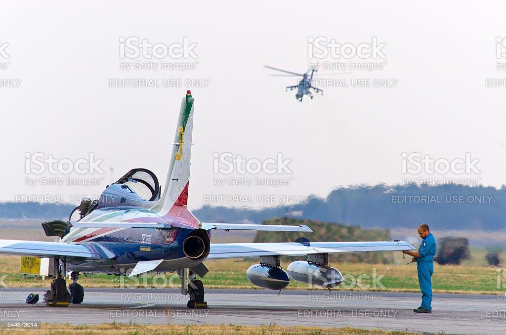 Staff is checking the plane on Radom Airshow, Poland stock photo