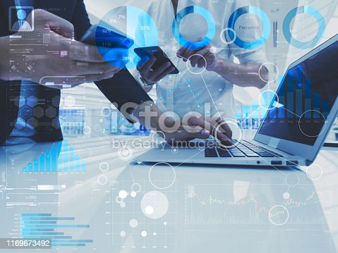 istock Staff KPI performance dashboard report of individual work results. Financial indicators for business startup application 1169673492