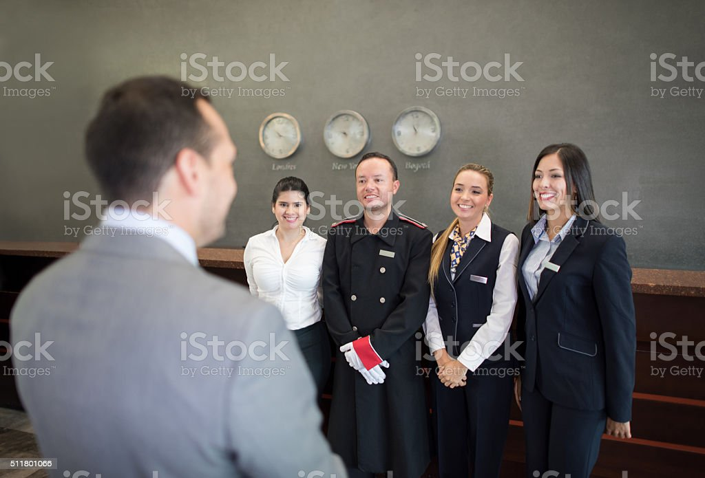 Staff meeting at a hotel stock photo