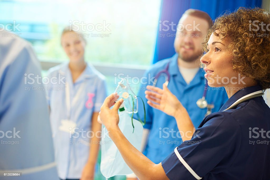 staff nurse team training young nurses stock photo