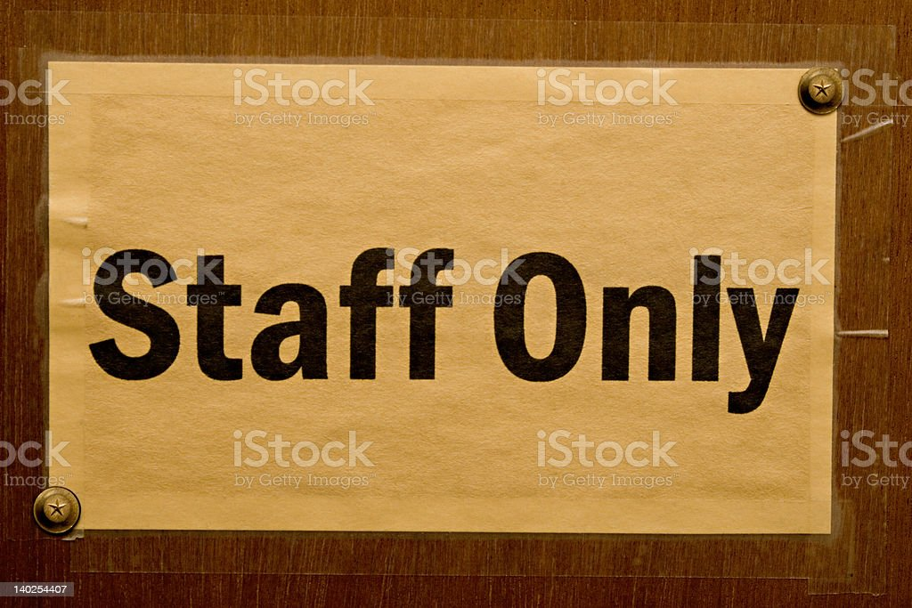 Staff Only royalty-free stock photo