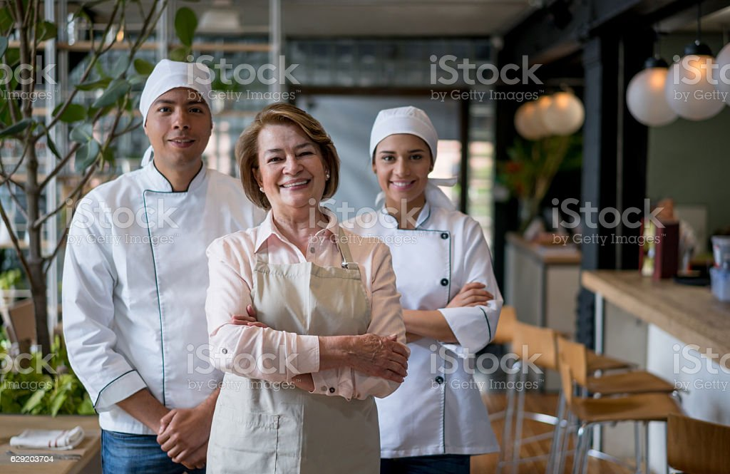Staff working at a restaurant stock photo