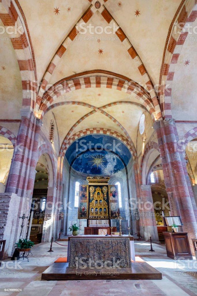 Staffarda Abbey (Santa Maria di Staffarda), a Cistercian monastery founded in 1135. Piedmont, northern Italy stock photo