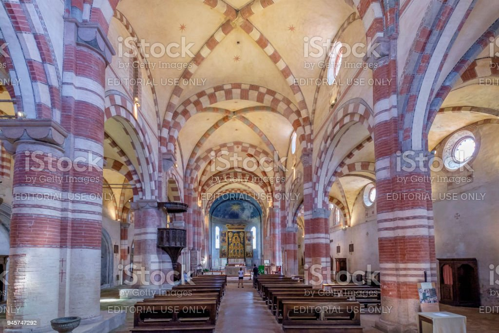 Staffarda Abbey (Santa Maria di Staffarda), Italy stock photo