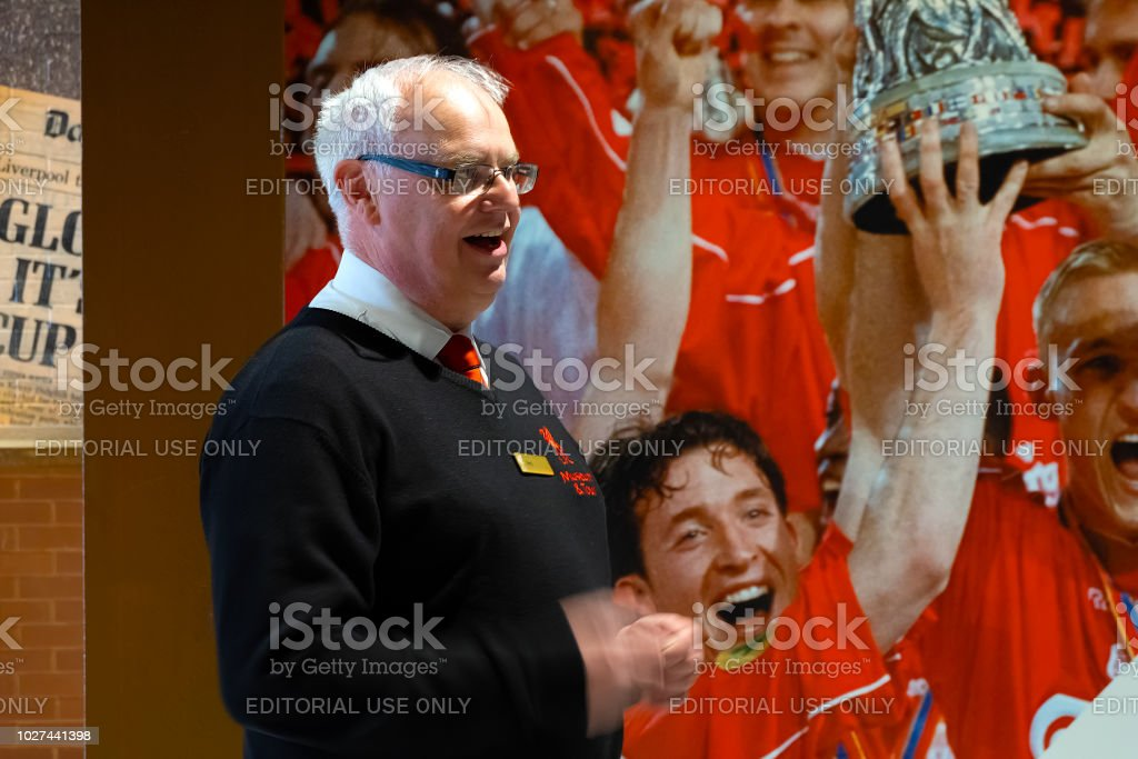 LFC staffs take a tour in Anfield stadium stock photo