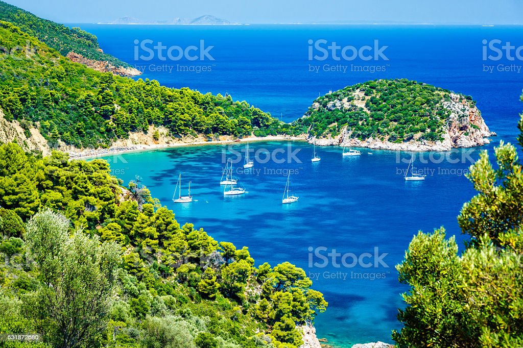 Stafilos beach, Skopelos island, Greece stock photo