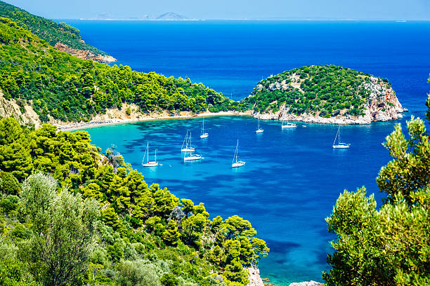Stafilos beach, Skopelos island, Greece stock photo