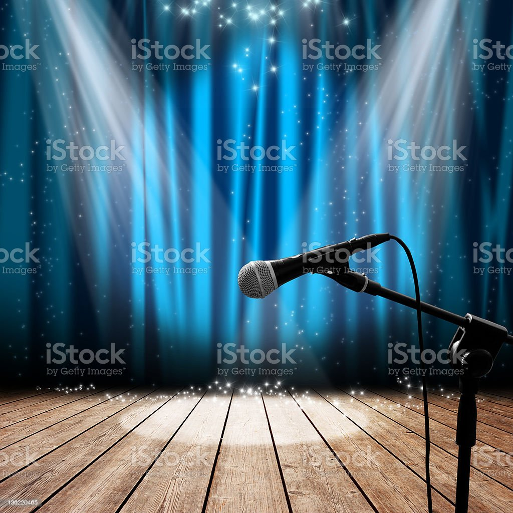 Stage and microphone stock photo