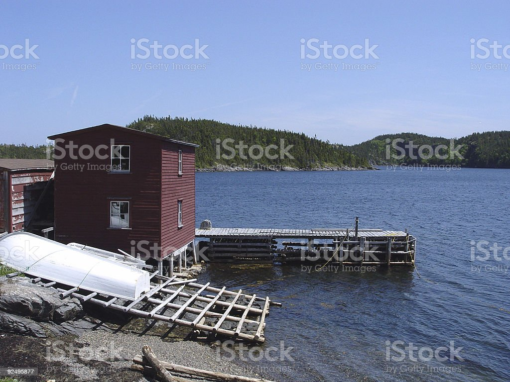 Stage and Warf in Newfoundland royalty-free stock photo