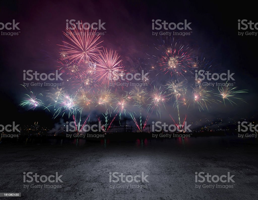 Stage background with fireworks royalty-free stock photo