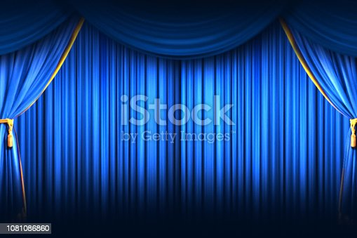 istock Stage Curtain. High quality computer animation. Closing Curtain. 1081086860