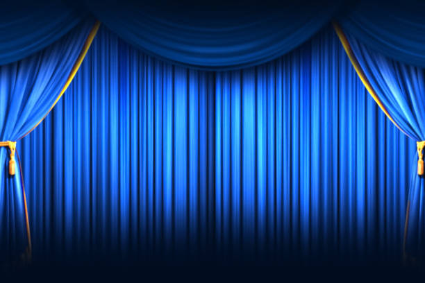 stage curtain. high quality computer animation. closing curtain. - sipario foto e immagini stock