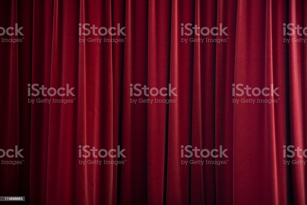 stage curtain red velvet stock photo