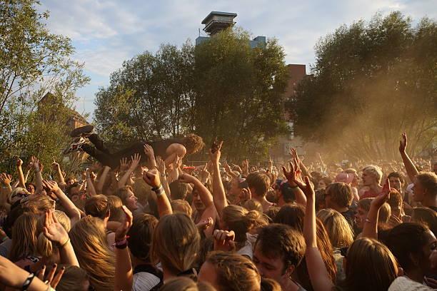 stage dive during an open air concert - happy indie pop bildbanksfoton och bilder