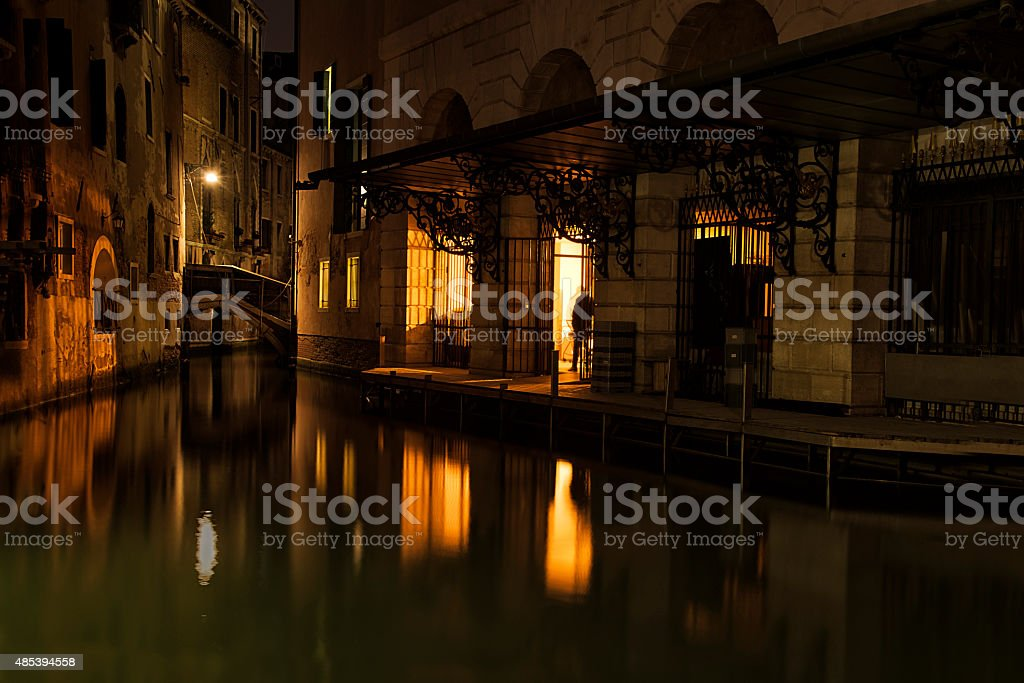 Stage Door of La Fenice Opera House at night royalty-free stock photo