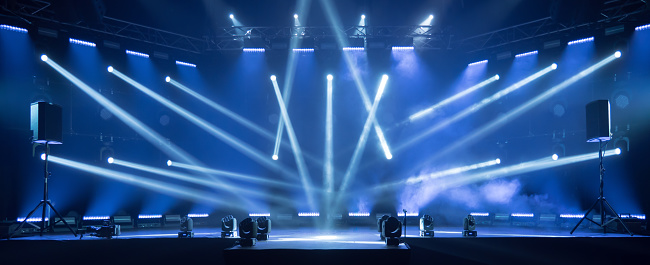 istock Stage for live concert Online transmission. Business concept for a concert online production broadcast in realtime as events happen. Stage for online live concert Concert live streams available online 1227545096