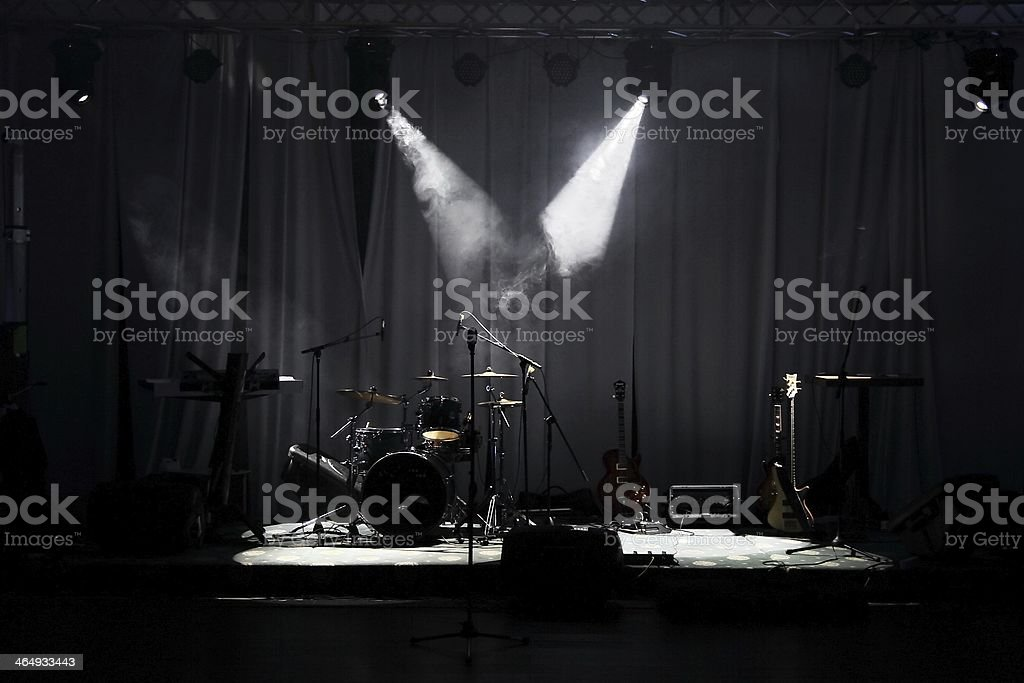 Stage in Lights before concert stock photo