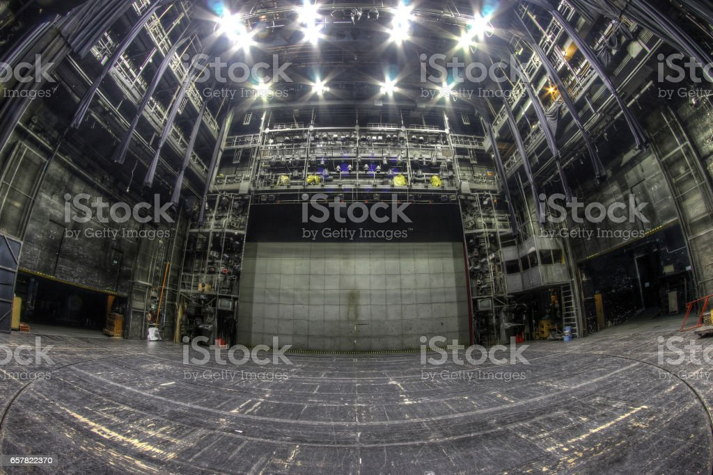 Stage in the abandoned theatre stock photo