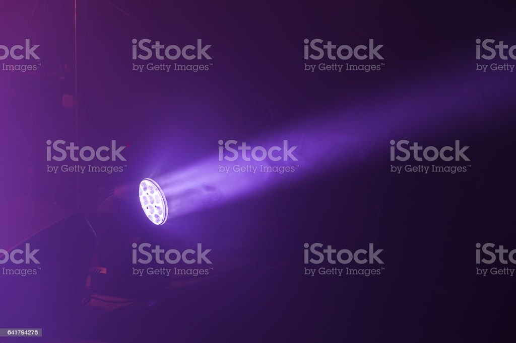 Stage LED spot light with purple beam, stage illumination equipment
