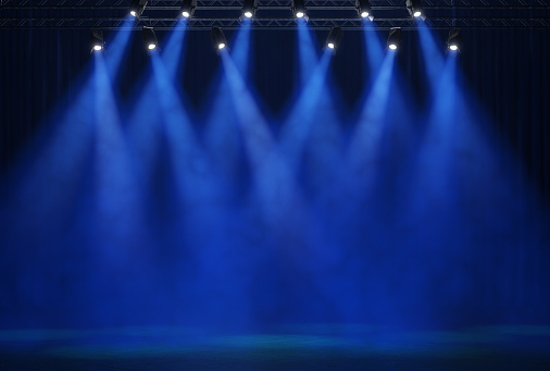 Stage light with colored spotlights and smoke. 3d illustration