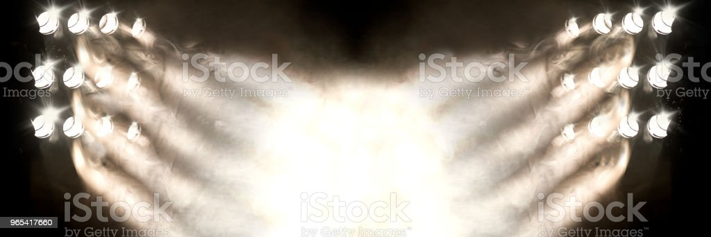 Stage lights and fog or misty in the dark. royalty-free stock photo