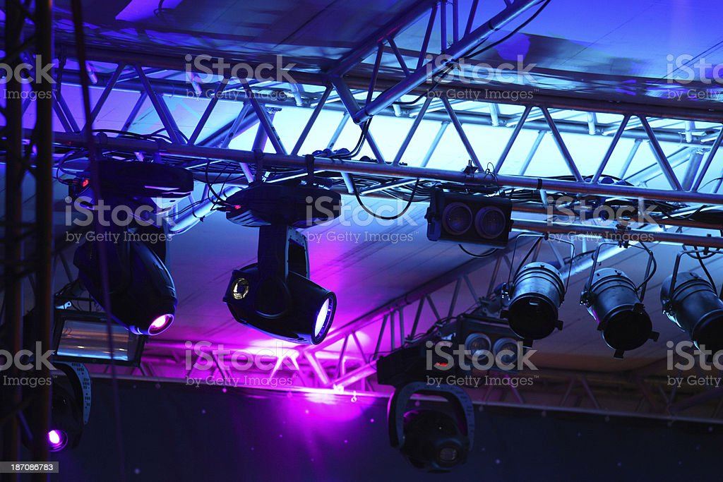 Stage lights from rock concert stock photo
