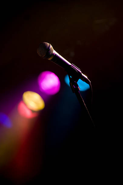Stage Lights wih microphone stock photo