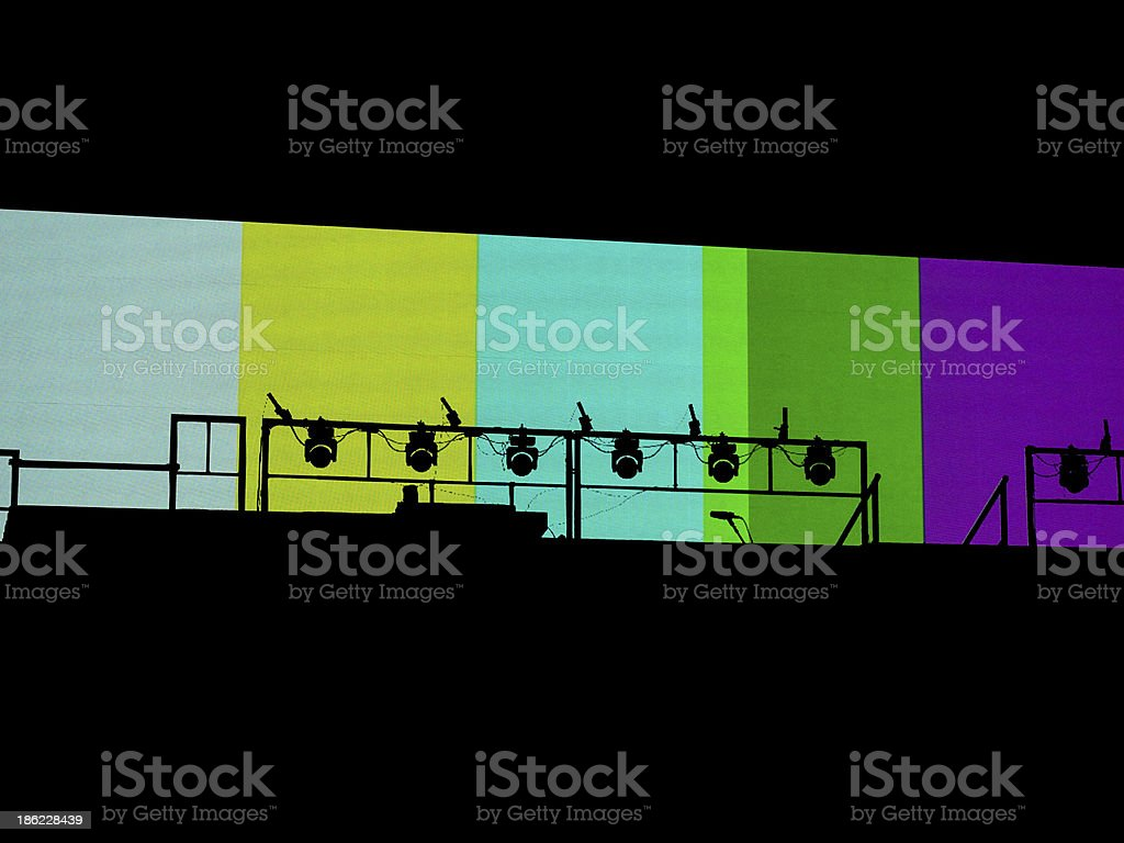 Stage Lights With TV Test Pattern stock photo