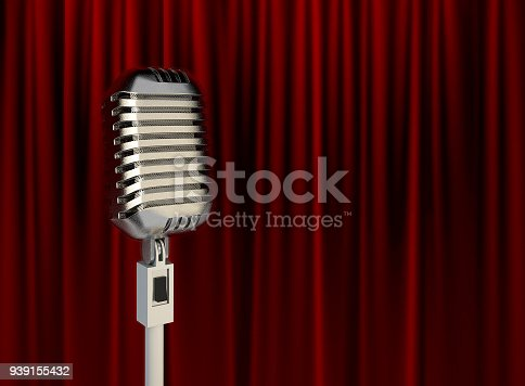 istock Stage Microphone in front of Red Stage Theater Curtain. 939155432