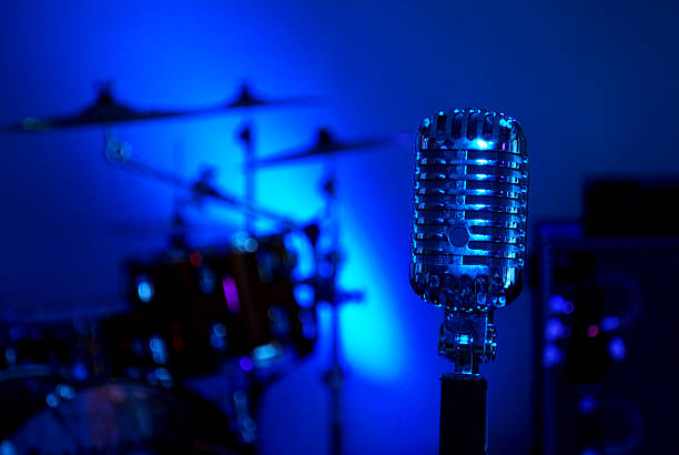 stage microphone stock photo