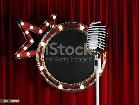 939154550 istock photo Stage Microphone with Blank Board Circle Frame. 939154380