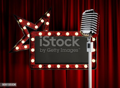 939154550 istock photo Stage Microphone with Blank Board in front of red Curtain. 939155006
